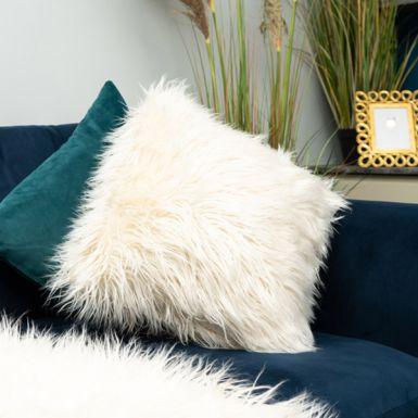 White Fur Cushion
