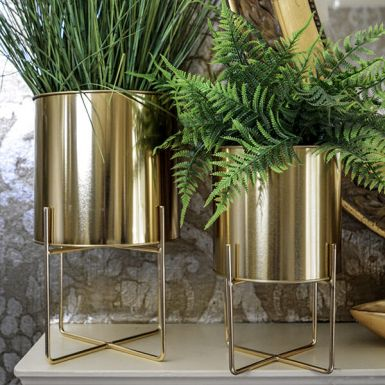 Large Gold Planter with Stand