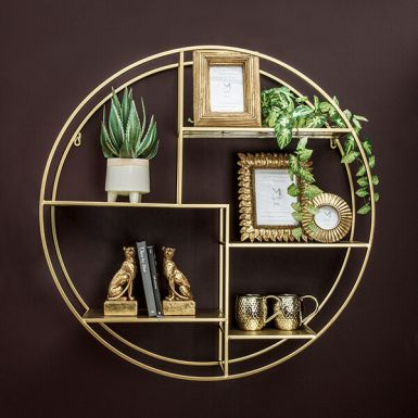 Round Wall Shelf Unit in Gold
