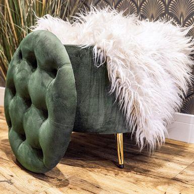 Green Kensington Velvet Storage Ottoman
