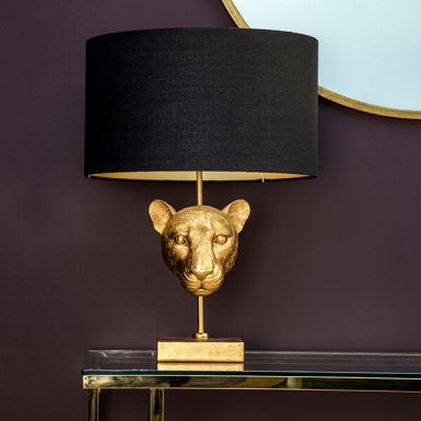 Gold Leopard Head Lamp