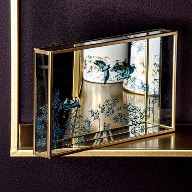 Mirrored Tray with Heron Glass