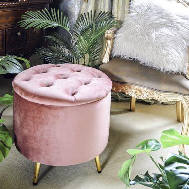 Dusky Pink Darcy Velvet Ottoman Stool
