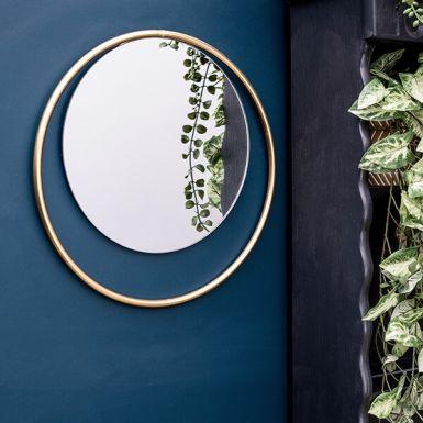 Round Mirror with Gold Frame