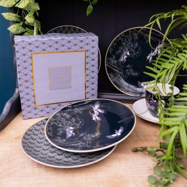 Set of Four Heron Design Side Plates