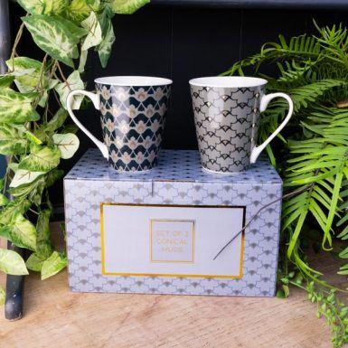 Set of Two Heron Design Mugs