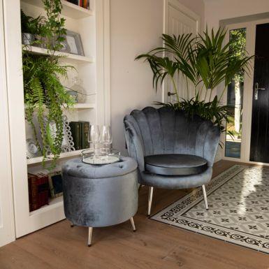 Silver Darcy Velvet Shell Chair